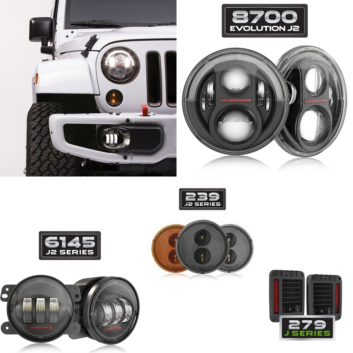J.W. Speaker LED Komplettset Jeep Wrangler JK